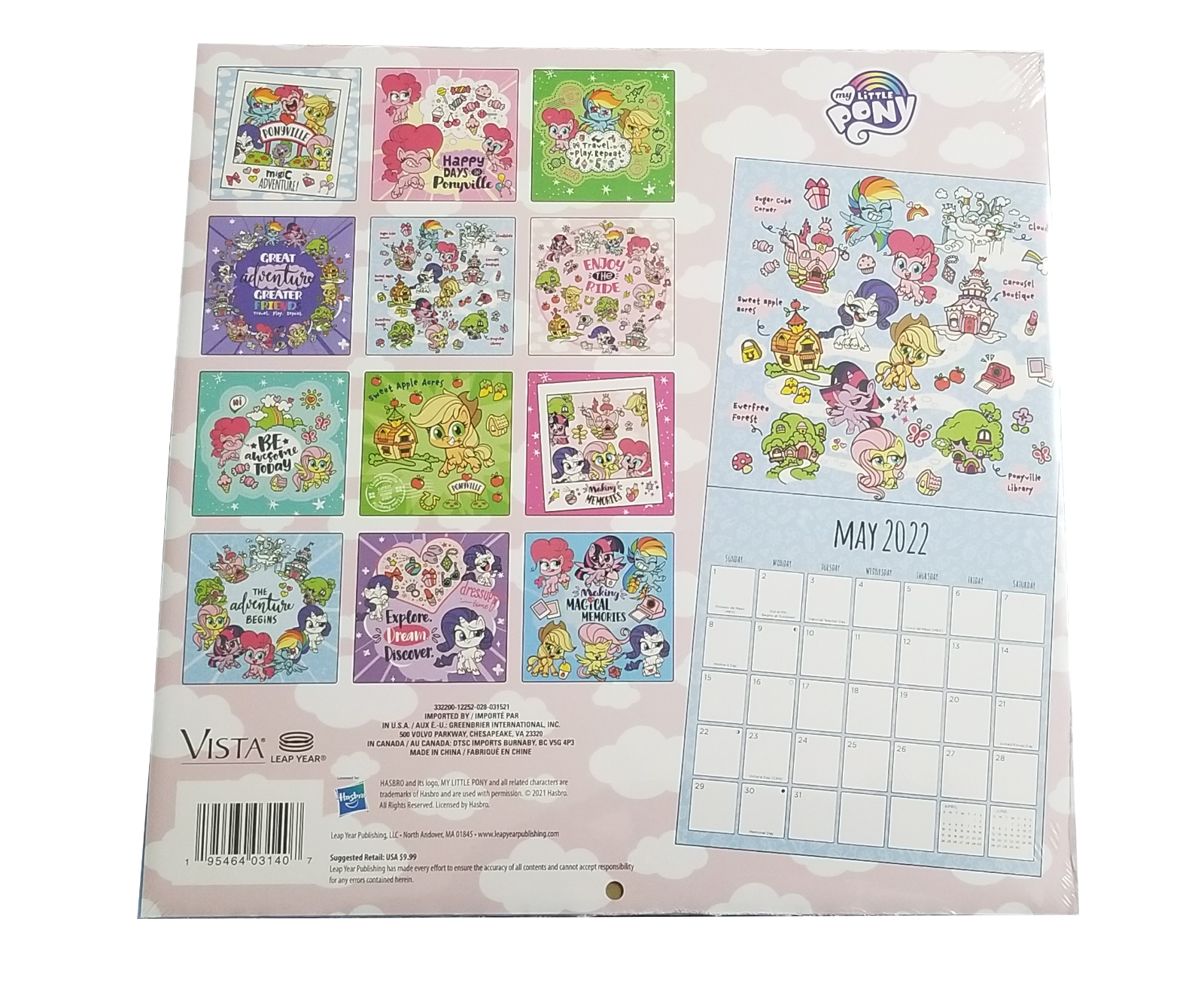 """My Little Pony 2022 16-Month 10""""x10"""" Wall Calendar by Vista Leap Year"""