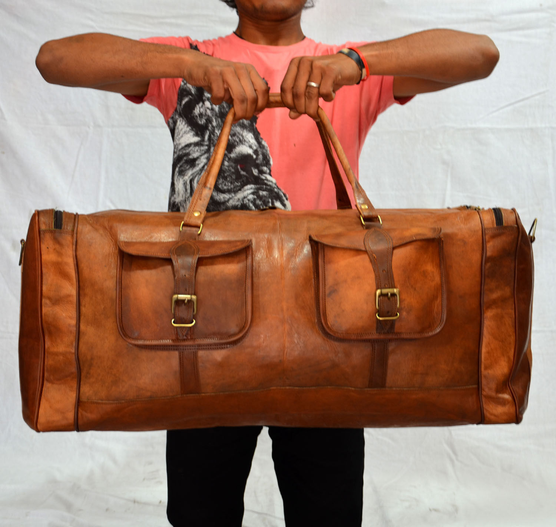 NEW Vintage Handmade Goat Leather Duffle Bag and 50 similar items. 57 77ae1ef50edb6