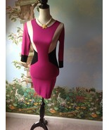Body Central 3/4 Sleeve Pink Beige and Black Knit Sweater Dress Size small - $21.78