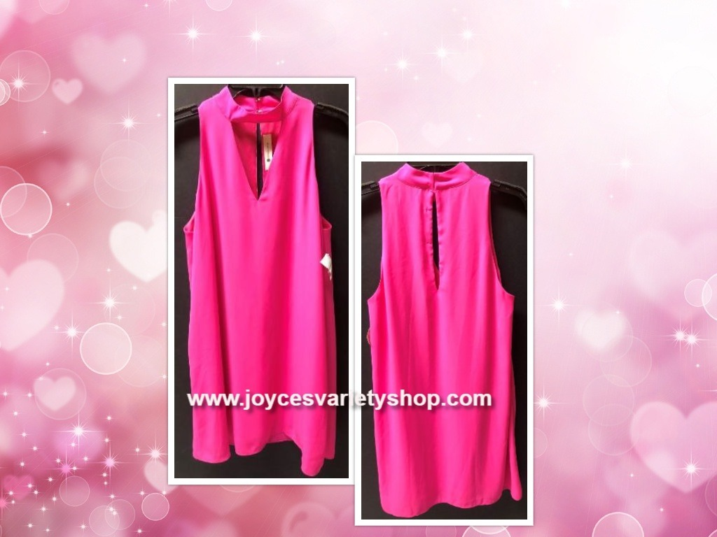 The Impeccable Pig Hot Pink Choker Dress Sleeveless Lined Sz L