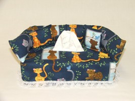 Cartoon Cats fabric tissue box cover, Kleenex box cover. - $20.00