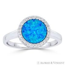 Lab Opal & CZ Crystal Halo 925 Sterling Silver & Rhodium Right-Hand Fashion Ring - $28.50 - $30.09