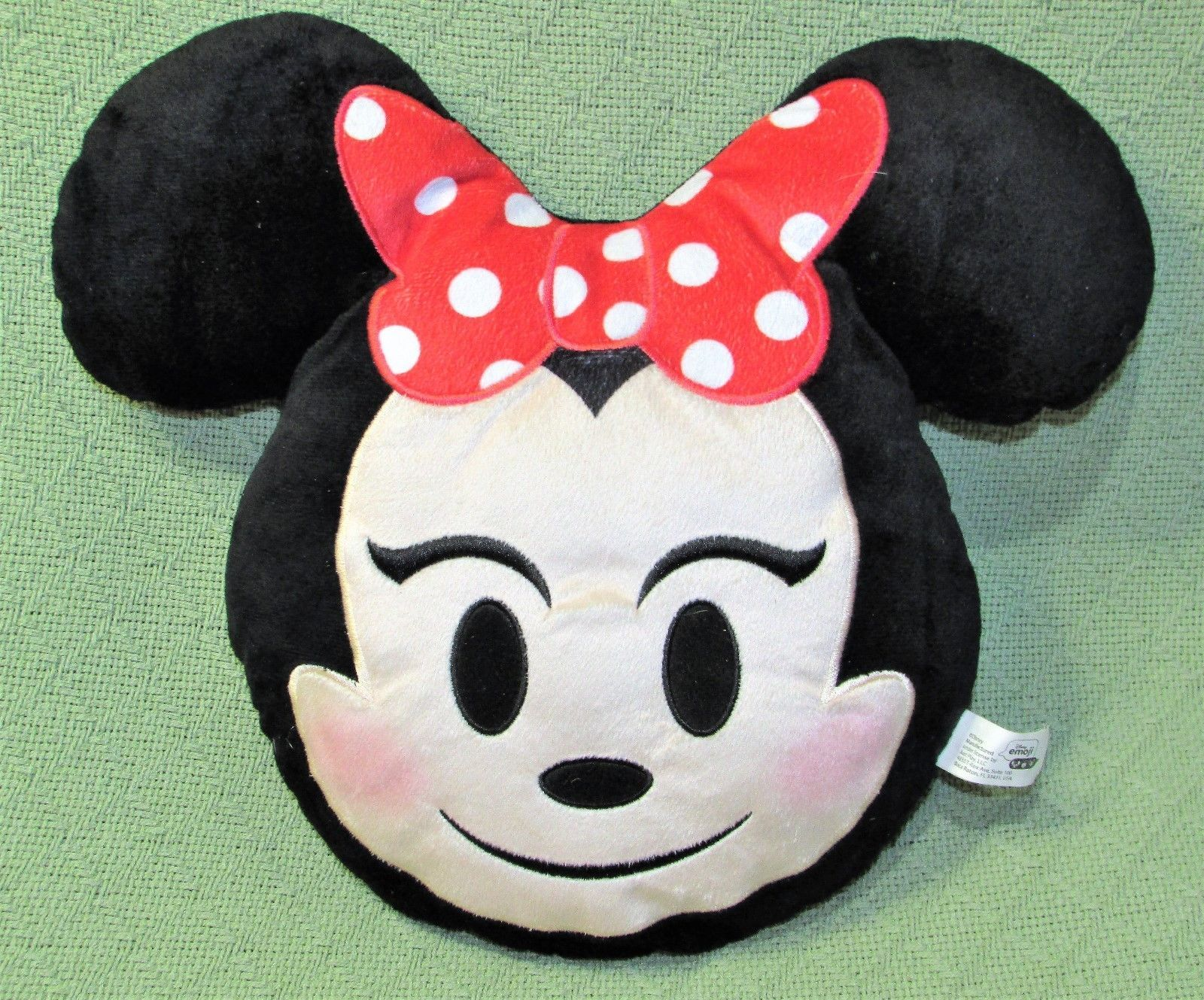 "Disney Minnie Mouse EMOJI PILLOW Plush Stuffed Character 11"" Red Bow Polka Dot  image 2"