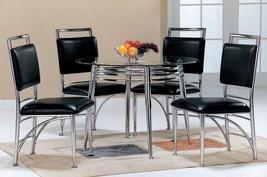 MYCO Furniture Cosmopolitan Modern Glass Top Chrome Base Dining Room Set 7Pcs