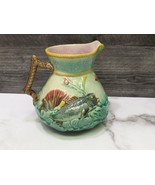 Antique Victorian Majolica Raised Fish Design with Shell and Seaweed Pit... - $93.06