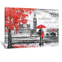 Kreative Arts - Red Umbrella Couple Painting Canvas Art Wall Decor Print... - $47.68