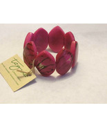 TAGUA NUT FROM EUCADOR FAIR TRADE & SUSTAINABLE STRETCH HOT PINK  BRACELET - $16.82