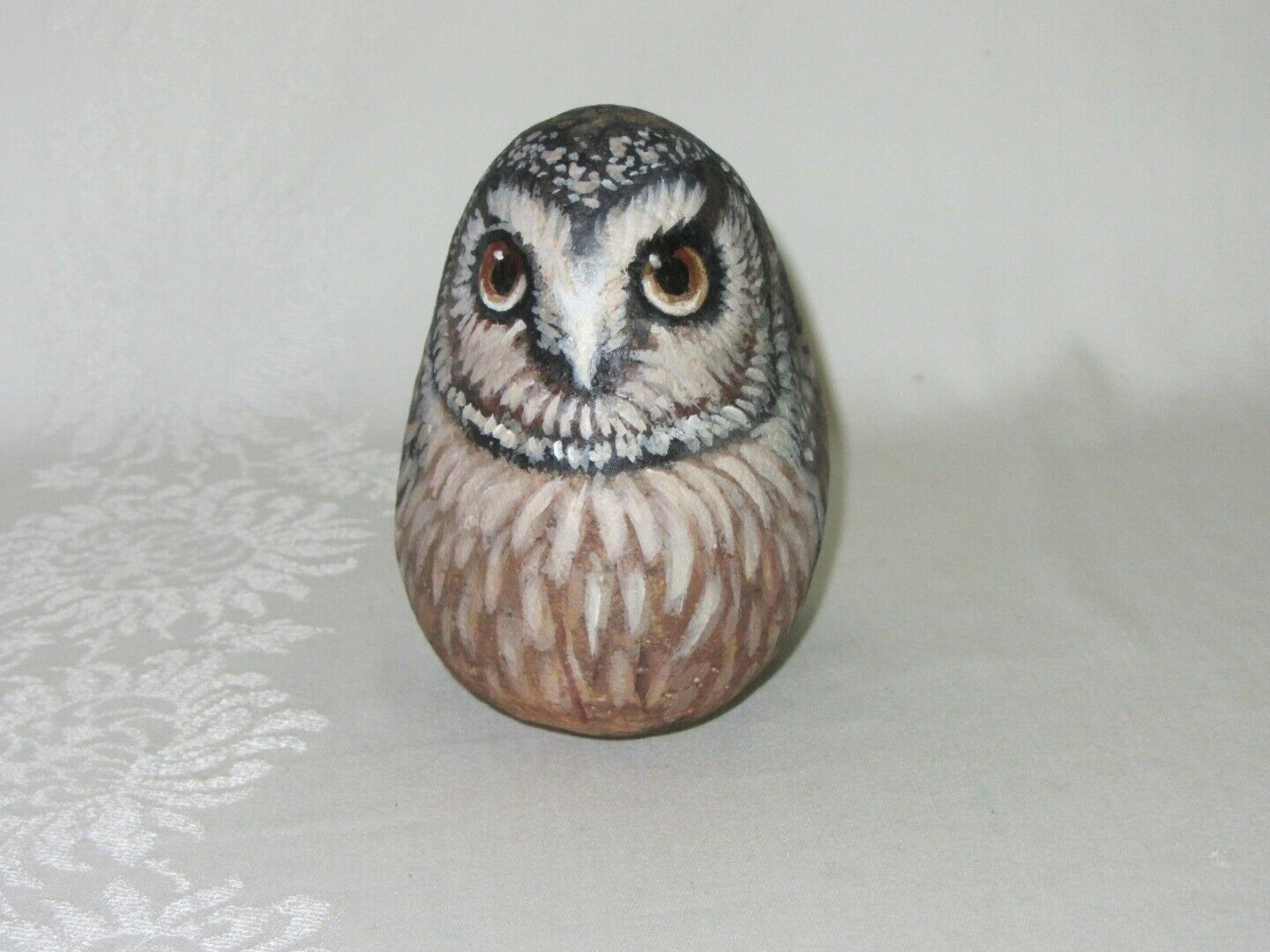 Hand Painted Rock Art Vintage Owl Bird Figurine Detailed Stone Signed Artist
