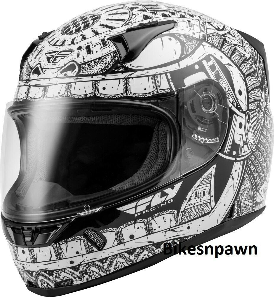Adult S Fly Racing Revolt Codex Motorcycle Helmet White/Black DOT & Snell