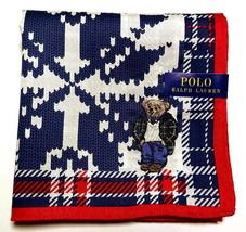 POLO Ralph Lauren Handkerchief hanky scarf bandana Bear Blue Check Auth New - $23.76
