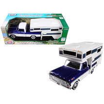 1969 Ford F-100 Pickup Truck with Slide-In Camper Blue Metallic and Whit... - $41.42