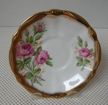 """Queen Anne Bone China """"REPLACEMENT"""" SAUCER Pink Roses, Thick Brushed Gol... - $10.90"""