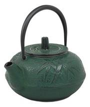 Ebros Japanese Tetsubin Green Cast Iron Teapot With Oriental Bamboo Desi... - $26.99