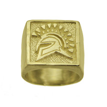 Trojan Soldier Warrior SPARTAN gladiator Head 24K Gold Plated ring Jewel... - $56.67