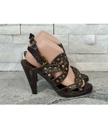 Twenty One Dark Brown Strappy High Heels with Gold Round Studs for Women... - $14.00