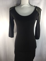 H&M Women fitted Dress Scoop Neck Long Sleeve   Embroidered Beads XS - $15.88