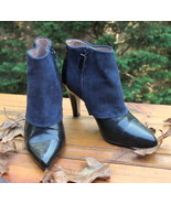 Reiss Blue Black Suede Leather Ankle Boots 37 US 6.5 size Womens Heels S... - $29.44