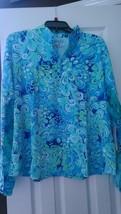 NWT Womens IBKUL ICIKULS ABSTRACT BLUE Long Sleeve Mock Golf Shirt XXL 1... - $79.99