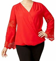 INC International Concepts womens Plus Size Lace-Inset Surplice Real Red... - $11.89