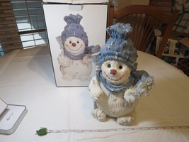 Accent In Design snowman Christmas blue white scarf knit look figure statue - $32.66