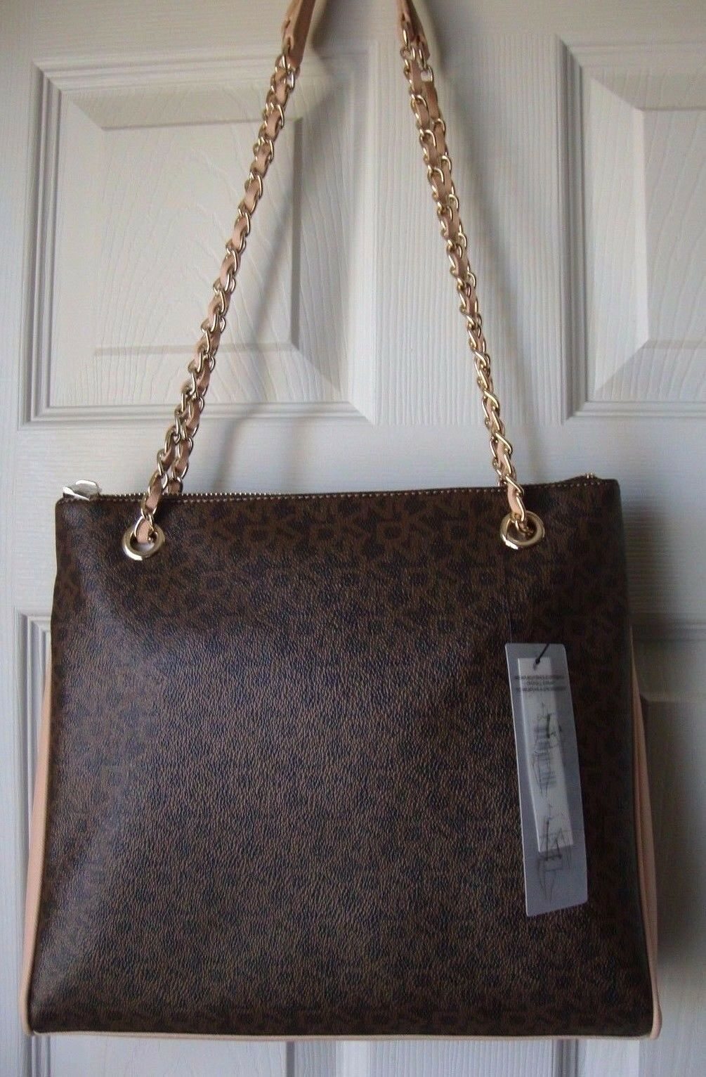 New DKNY Women Convertible Leather Chain Shoulder Crossbody Bag Brown