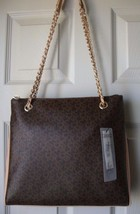 New DKNY Women Convertible Leather Chain Shoulder Crossbody Bag Brown - $152.45