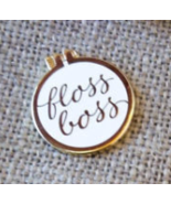 White Floss Boss Enamel Needleminder cross stit... - $12.00