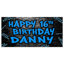Brick Wall Blue Graffiti Birthday Banner  Personalized Party Backdrop - $22.28