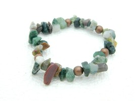VTG Polished Gemstone Agate Quartz Bead Stretch Bracelet - $19.80