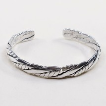 "7"", Vtg Braid Cable Sterling Handmade Cuff, Mexico 925 Silver Bracelet - $54.11"