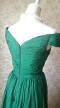 Emerald green Retro Off Shoulder Long Prom Dress Womens Green Maxi Evening Dress image 3