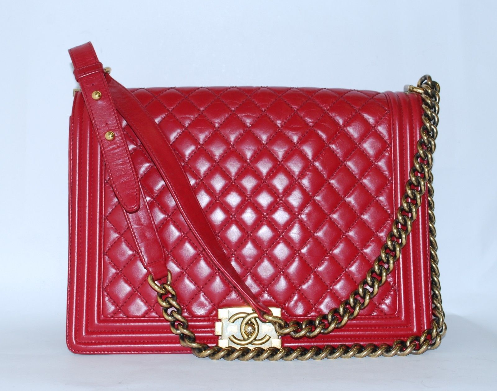 e3ad04400ef6 CHANEL Boy Red CC Quilted Leather Handbag and 50 similar items