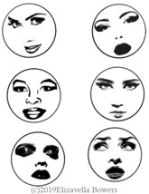 "vintage pinup girl faces collage sheet 3"" circles printable clipart digi... - $3.99"