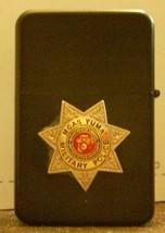 Polished Chrome USMC Police Badge MP Emblem Black Lighter  - $14.84