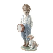 "LLADRO ""Friendly Duet"" #6846 Figurine Young Boy with Drum and Puppy Reti... - $213.84"