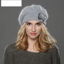 Women beret hat wool angora beret Simple and stylish mink flower decoration  - $32.00