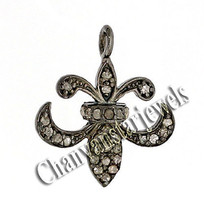 Victorian Look!0.34 C RoseCut Diamond Sterling Silver GoodLuck Pendant C... - $1.841,75 MXN