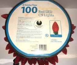 100 Holiday Time LED Super Bright Red LED C9 Christmas Lights Green Wire... - $23.36