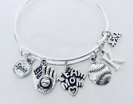 Baseball Team Mom Gift Expandable Silver Wire Bangle Charm Bracelet Coach Gift A - $29.99