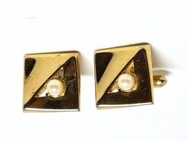 Swank Cufflinks Faux Pearls Goldtone Cuff Links Vintage - $20.39