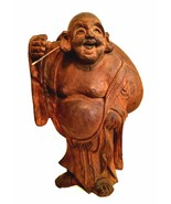 Buddah Statue Wooden Hand Carved Big Bag of Fortune Lucky Happy Figurine... - $152.46