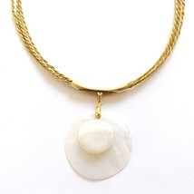 CAPIM GOLDEN GRASS BRAZILIAN NECKLACE ROUND DISC SHELL MOTHER OF PEARL P... - $25.22