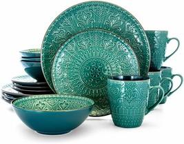Elama Sea Foam Mozaic 16 Piece Luxurious Stoneware Dinnerware with Setti... - $78.10