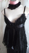 Black Lace Corset Style Top: Look: Size 12: Emo/goth ,Strappy. Sexy SIZE12 - $30.24