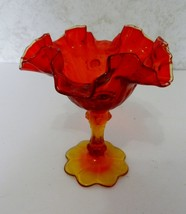 Fenton Amberina Glass Cabbage Rose Comport Candy Dish Clear Crest Marked VTG - $24.63