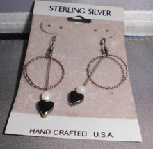 Never Worn Sterling Silver .925 Hematite Faux Pearl Dangle Earrings - $9.90