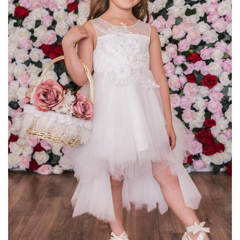 Vintage Rose Flower Lace Applique Illusion Neckline Tiered Layers Hi Lo Dress