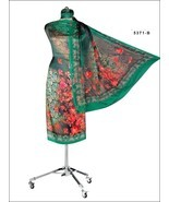 Floral Green Digital Print Satin Straight Suit Dupatta Casual Wear 7494 - €108,06 EUR