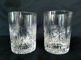 Antique Cut Crystal Cocktail Old Fashioned Glasses Set of 2 Flowers Fans - $47.45