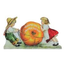 "CC Home Furnishings 10.25"" Glitter Children Pulling a Pumpkin Autumn Sig... - $11.62"
